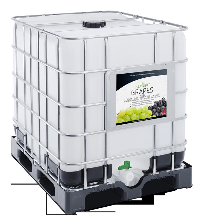 Kemgro Crop Solutions Grapes 1000 Litre fertilizer photo of palletainer.