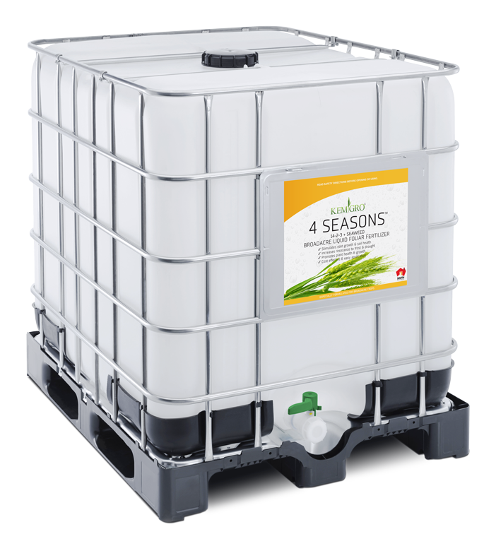 Kemgro Crop Solutions 4 Seasons 1000 Litre fertilizer photo of palletainer.
