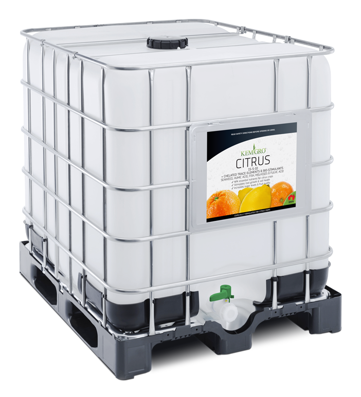 Kemgro Crop Solutions Citrus 1000 Litre fertilizer photo of palletainer.