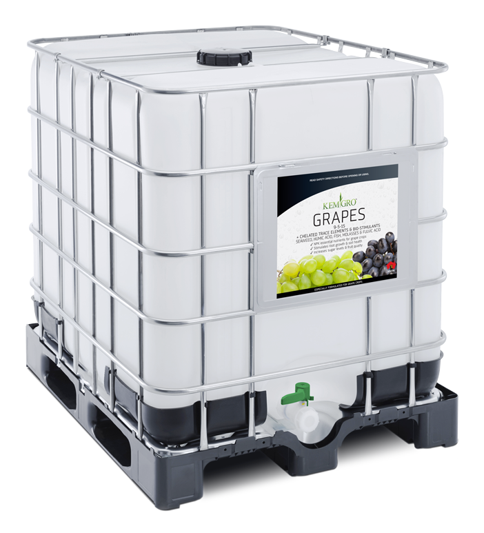 Kemgro Crop Solutions Grapes 1000 Litre fertilizer photo of palletainer.