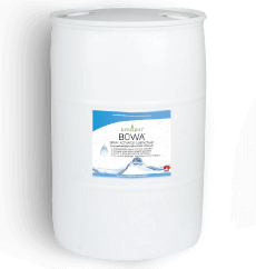 Kemgro Crop Solutions Bowa 200Ltr, large white drum label with small blue and white label on the front in the middle.